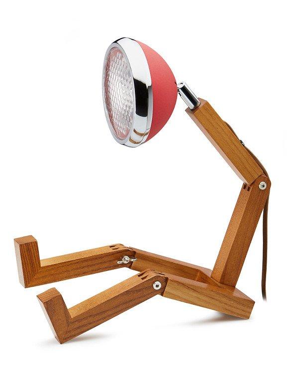 Mr. Wattson LED Tischlampe Holz Metall rot - Pic 1