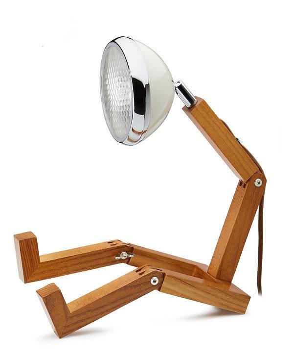 Mr. Wattson LED Tischlampe Holz Metall weiß - Pic 1