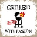 PPD Papierservietten Grilled with Passion weiß 33 x 33cm - Thumbnail 1