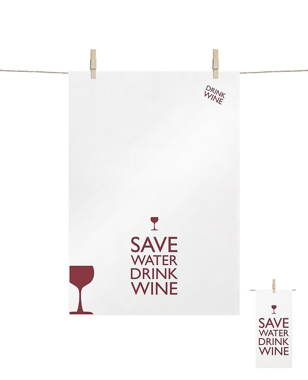 PPD Geschirrtuch Save Water Drink Wine 68 x 48cm - Pic 1