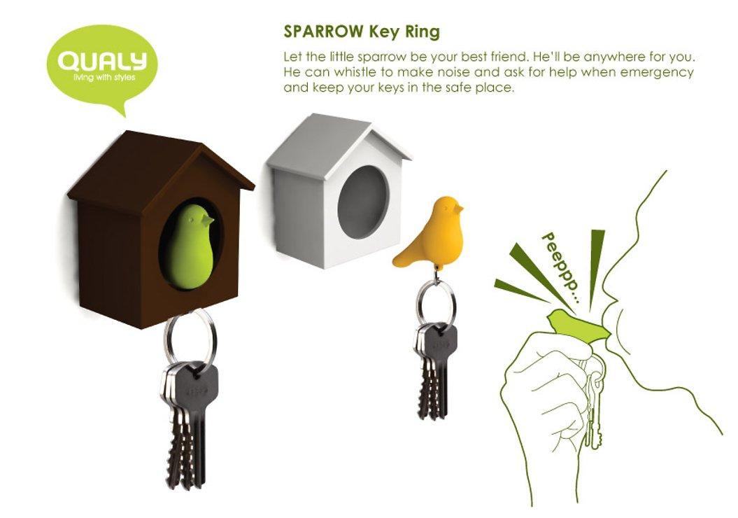 Qualy Schlüsselhalter Duo Sparrow Key Ring –weiß/grün - Pic 2