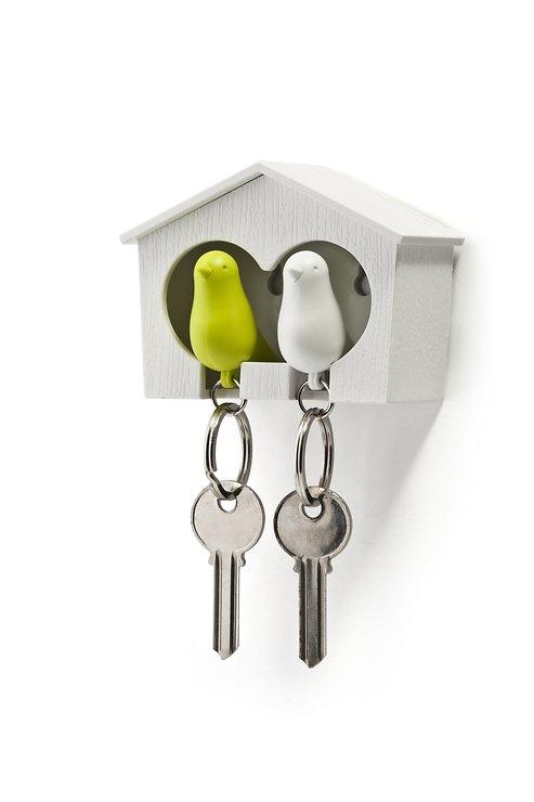 Qualy Schlüsselhalter Duo Sparrow Key Ring –weiß/grün - Pic 1