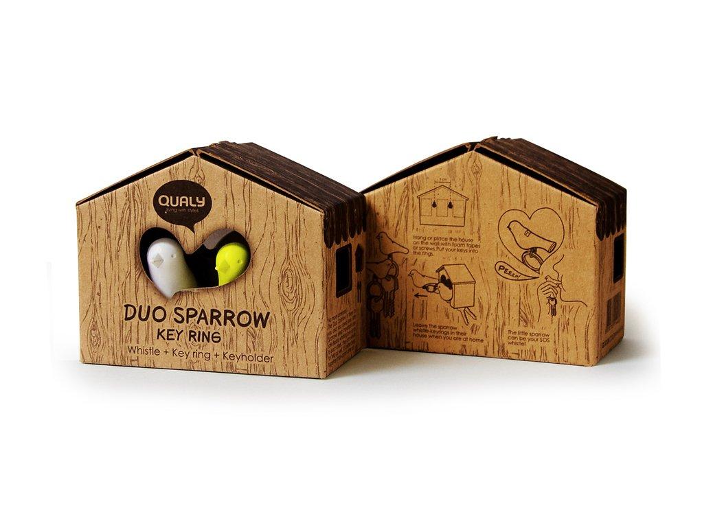Qualy Schlüsselhalter Duo Sparrow Key Ring –weiß/grün - Pic 3