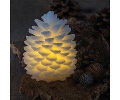 Sirius LED Tannenzapfen Echtwachs Clara 14cm weiß