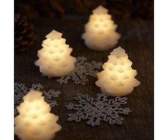 Sirius LED Tannenbaum Carla Mini Echtwachs 4 Stück 7,5cm weiß