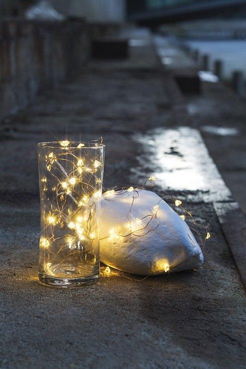 Sirius Lichterkette batteriebetrieben Laerke Herz 20 LED innen 1,9 m Acryl klar - Pic 1