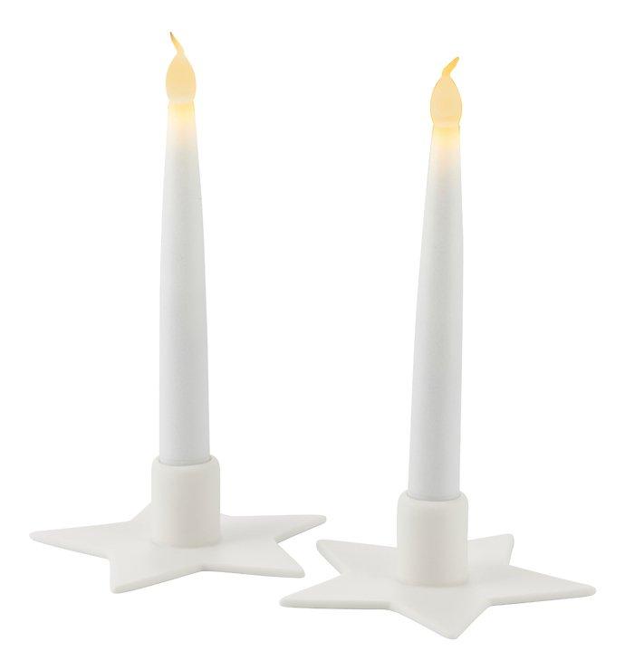 Sirius Kerzenständer inkl. LED Kerze Olina Star 2er Set Keramik weiß - Pic 2
