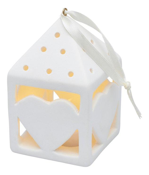 Sirius Deko Laterne Olina Heart 10,5 cm 1 LED Keramik weiß - Pic 1