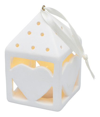 Sirius Deko Laterne Olina Heart 10,5 cm 1 LED Keramik weiß