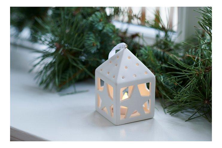 Sirius Deko Laterne Olina Star 10,5 cm 1 LED Keramik weiß