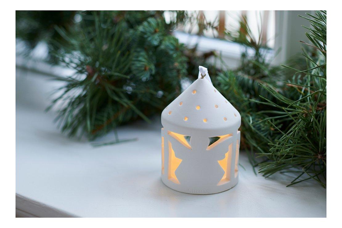 Sirius Deko Laterne Olina Angel 10,3 cm 1 LED Keramik weiß - Pic 1