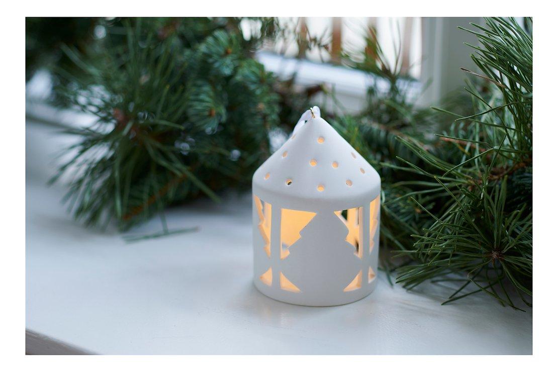 Sirius Deko Laterne Olina Tree 10,3 cm 1 LED Keramik weiß - Pic 1