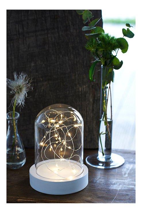 Sirius Leuchtdekoration Glashaube Bella 20 LED 20 cm weiß - Pic 1