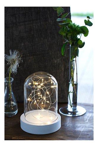 Sirius Leuchtdekoration Glashaube Bella 20 LED 20 cm weiß
