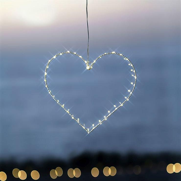 Sirius LED Leuchtherz Liva Heart small 30cm batteriebetrieben Metall weiß - Pic 1