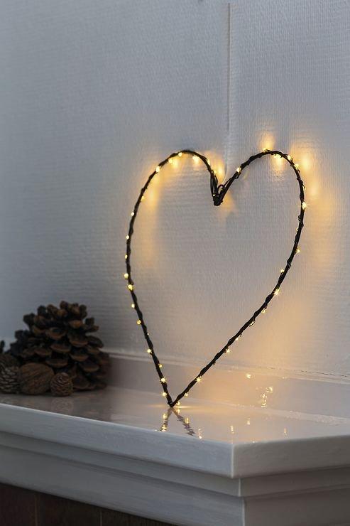 Sirius LED Leuchtherz Liva Heart small 30cm batteriebetrieben Metall schwarz - Pic 3
