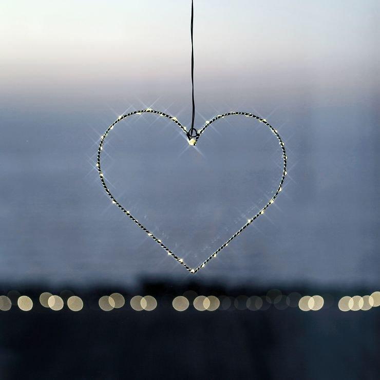 Sirius LED Leuchtherz Liva Heart small 30cm batteriebetrieben Metall schwarz - Pic 1