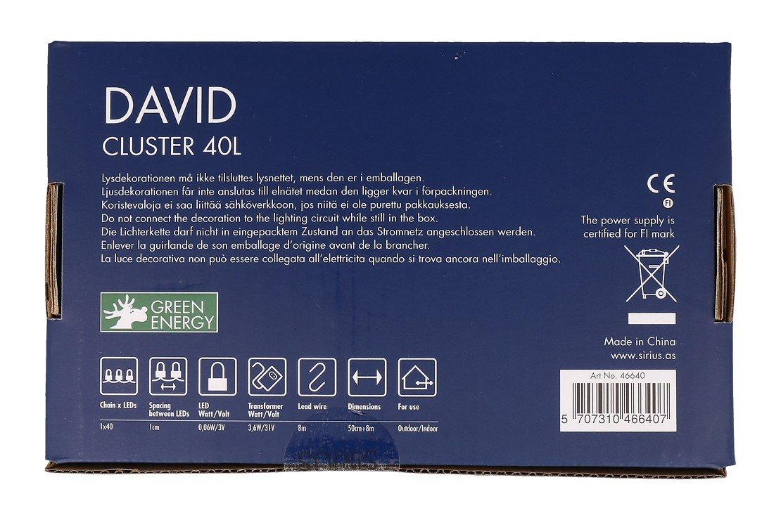 Sirius Lichterkette David Cluster 40 LED warmweiß außen 50cm grün - Pic 10