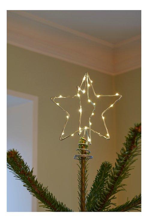 Sirius Weihnachtsbaumspitze Metall 30 LED 15 cm batteriebetrieben silber - Pic 1