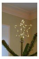 Sirius Weihnachtsbaumspitze Metall 30 LED 15 cm batteriebetrieben silber