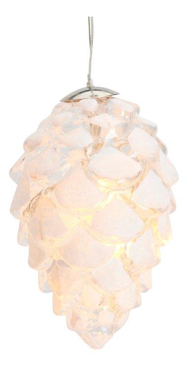 Sirius Leuchtanhänger Celina Cone Glaszapfen 10 LED innen 8 cm weiß - Pic 2