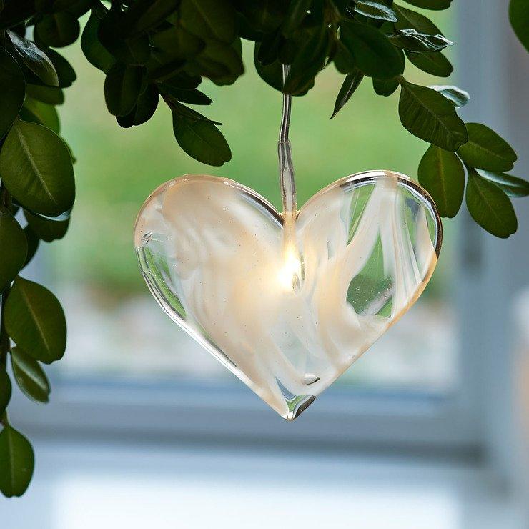 Sirius Leuchtanhänger Agnes Heart Glas 6,5cm 1 LED - Pic 1