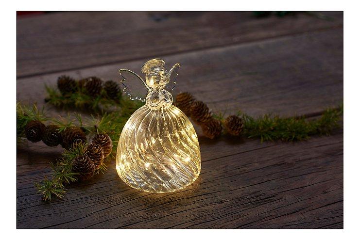 Sirius Leuchtengel Wave Angel 10 LED 15 cm Glas klar