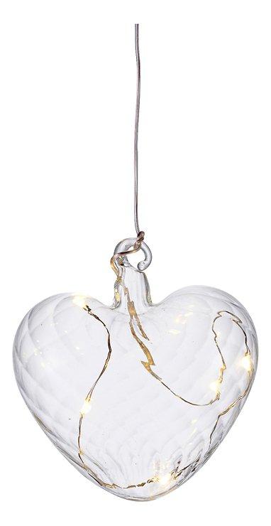 Sirius LED Leuchtherz Wave Heart 8 cm Batterie 5 LED Glas klar - Pic 2