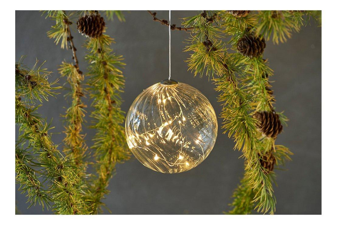 Sirius Leuchtkugel Wave Ball 10 cm batteriebetrieben 16 LED Glas klar - Pic 1