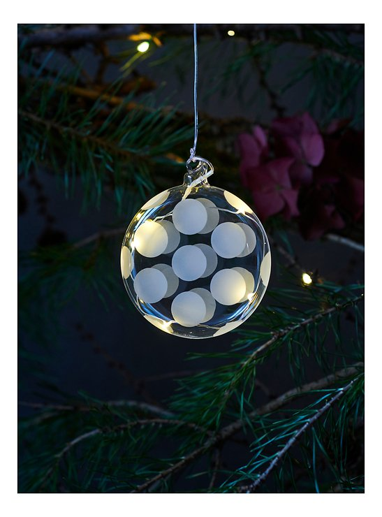 Sirius LED Leuchtdekoration Polka Oblate 8 cm Batterie 5 LED Glas weiß - Pic 1