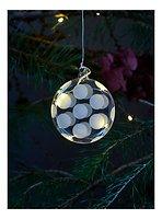 Sirius LED Leuchtdekoration Polka Oblate 8 cm Batterie 5 LED Glas weiß