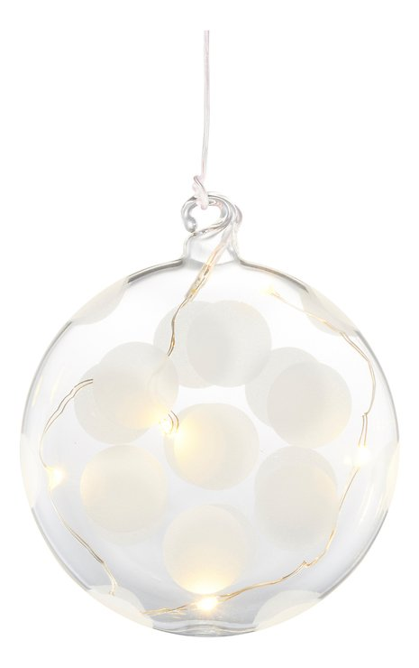 Sirius LED Leuchtdekoration Polka Oblate 8 cm Batterie 5 LED Glas weiß - Pic 2