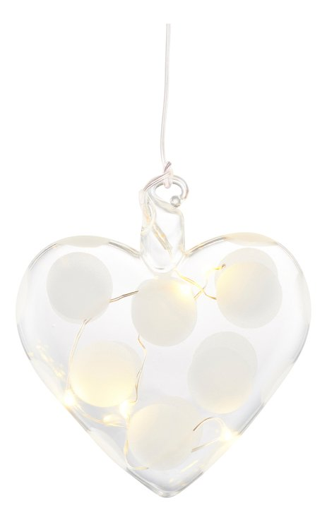 Sirius LED Leuchtherz Polka Heart 8 cm Batterie 5 LED Glas weiß - Pic 2