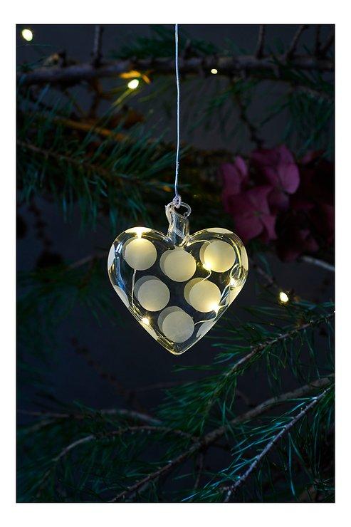 Sirius LED Leuchtherz Polka Heart 8 cm Batterie 5 LED Glas weiß - Pic 1