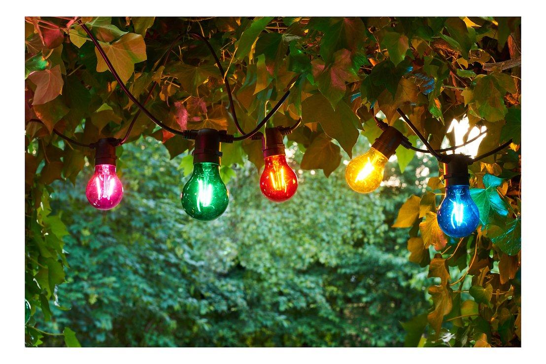 Sirius Lichterkette Tobias Erweiterung 10 LED Glas bunt außen 4,5 m schwarz - Pic 1