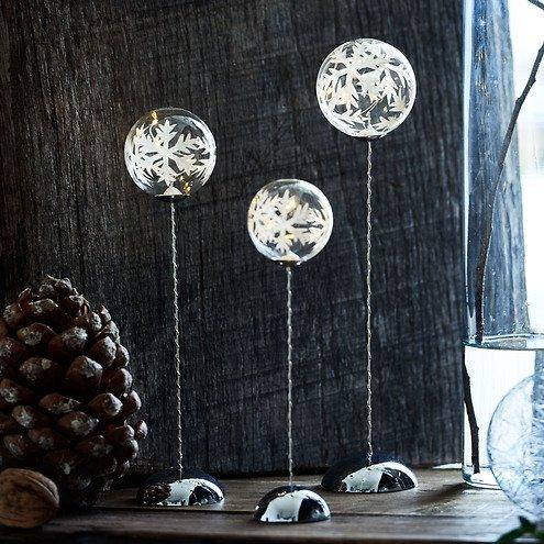 Sirius Leuchtkugel Snowflake Trio batteriebetrieben 2/3/4 LED klar