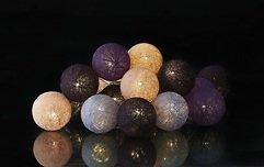 Sirius Lichterkette Bolette 20 LED 2,85 m Baumwollkugeln purple velvet