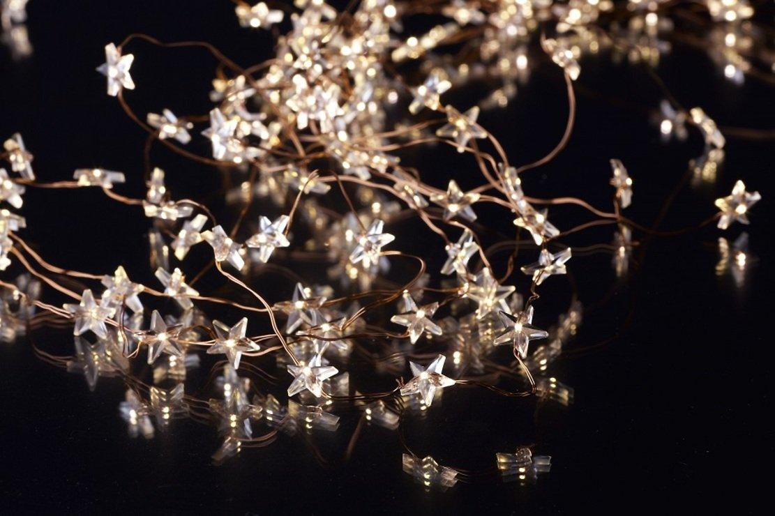Sirius Lichterkette Trille 125 LED Sterne außen 13 x 1m Kupferdraht ...