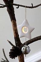 Sirius LED Leuchtanhänger Olina Star 8cm Keramik weiß