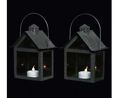 Sirius Laterne Aura 2er Set inkl. LED Kerze 15 cm innen Metall schwarz