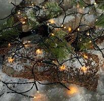 Sirius Lichterkette Time-Line 40 LED warmweiß 4 m Batterie Timer außen schwarz
