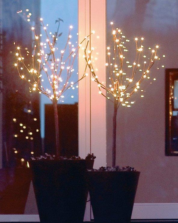 Sirius Leuchtbäume Time-Line Set 2x36 LED warmweiß batteriebetrieben außen - Pic 1