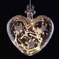 Sirius Leuchtkugel Stars Heart batteriebetrieben 14 LED 15 cm gold silber