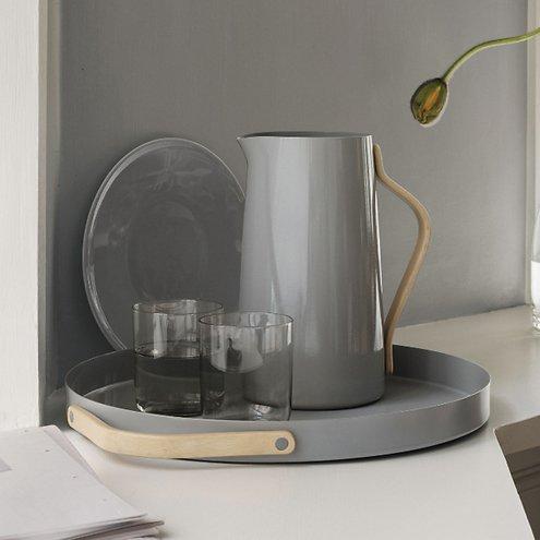stelton serviertablett emma grau rund mit griff 35cm kaufen. Black Bedroom Furniture Sets. Home Design Ideas