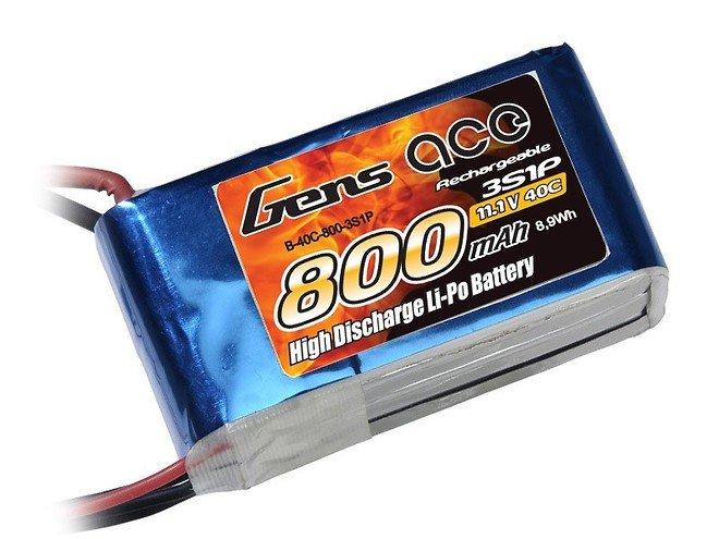 GensAce Batterie LiPo Akku 800mAh 11.1V 40C 3S1P