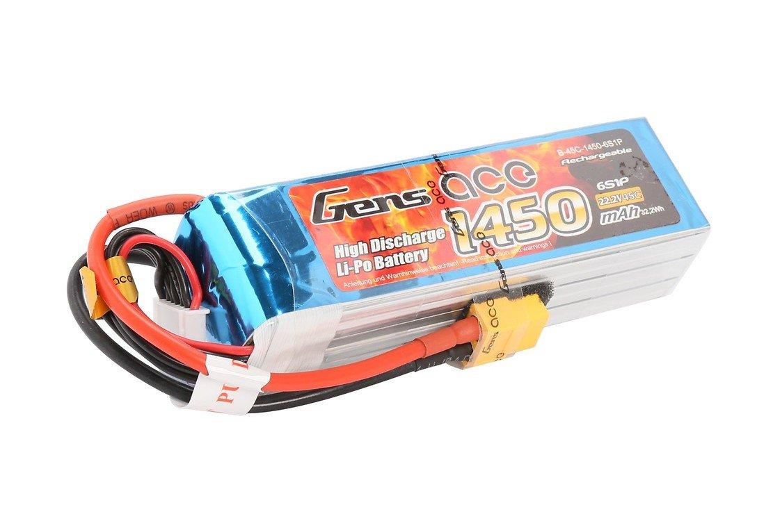 GensAce Batterie LiPo Akku 1450mAh 22.2V 45C 6S1P - Pic 1