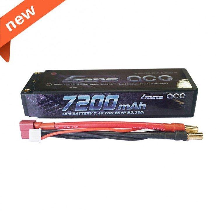 GensAce Batterie LiPo Akku 7200mAh 7.4V 70C 2S1P Hardcase 47 - Pic 1
