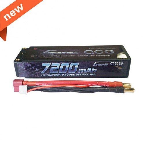 GensAce Batterie LiPo Akku 7200mAh 7.4V 70C 2S1P Hardcase 47