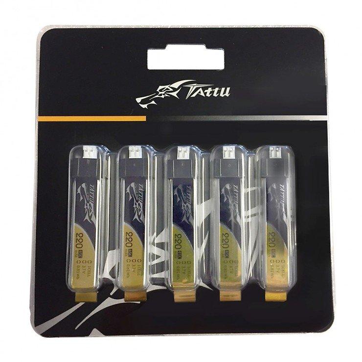 Tattu Batterie LiPo Akku 220mAh 3.7V 45C 1S1P mit JST-PHR-2P Plug 5er Set - Pic 1