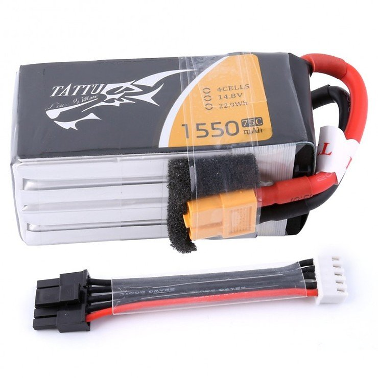 Tattu Batterie LiPo Akku 1550mAh 4s 75C mit abnehmbaren Balance Stecker - Pic 1